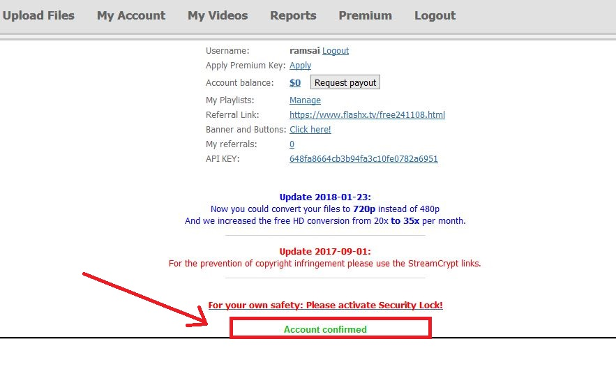 Account Confirmation Email on Flashx.tv/pair