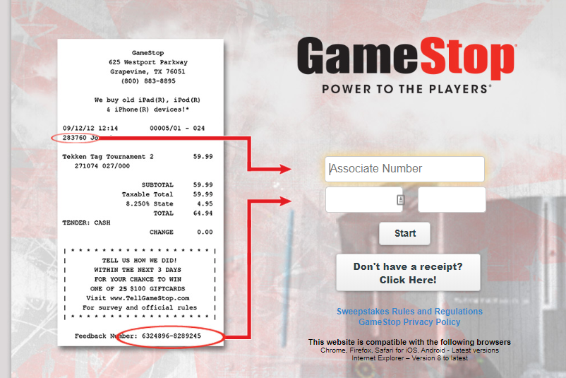 Tell Game Stop Survey Online